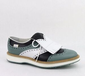 0ae5c3862 Gucci Men's Leather Brogue Fringed Oxford Golf Shoes White/Mint ...