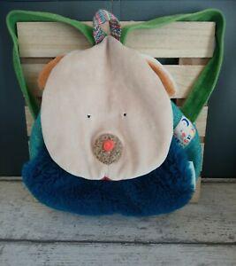 Sac à dos doudou chien beige bleu orange vert les zig et zag Moulin Roty