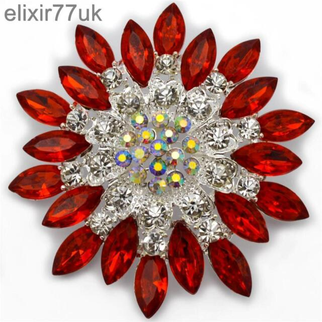 7.1cm LARGE SILVER FLOWER BROOCH RED DIAMANTE CRYSTAL BRIDAL PARTY PIN BROACH