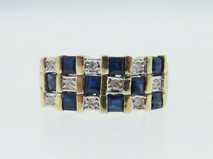 Natural-Blue-Sapphires-Diamonds-Band-Solid-14K-Two-Tone-Gold-Ring-FREE-Sizing