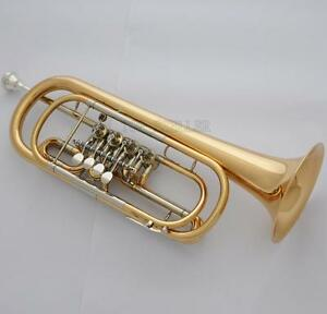 Professional-Level-C-Key-Bass-Trumpet-4-Rotary-Valve-Gold-Brass-Body-PRO-Case