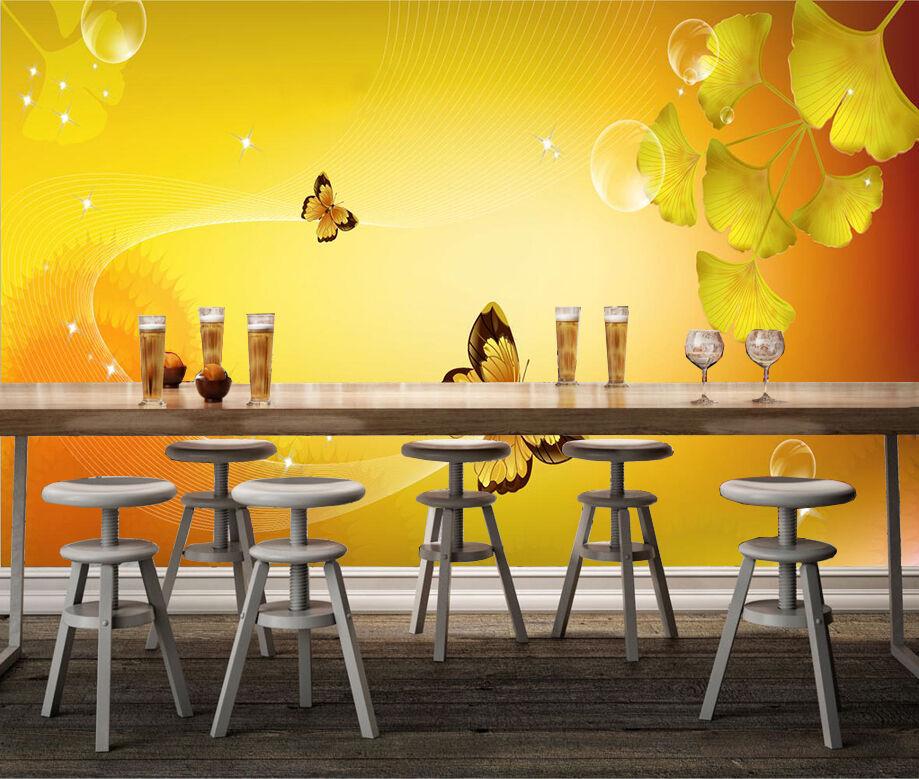 3D Butterflies Leaves 149 Wallpaper Decal Dercor Home Kids Nursery Mural Home