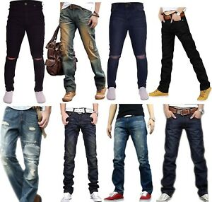 Mens-Regular-Fit-Faded-Ripped-Jeans-Straight-Leg-Distressed-Denim-Trousers-New