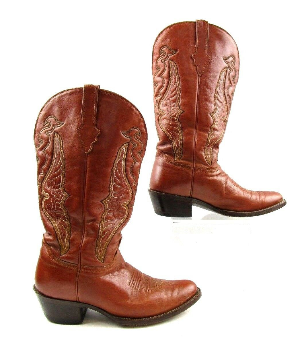 Men's Cordero Brown Leather Wing Embroidered Design Western Boots Size  8 E WIDE