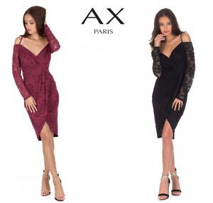 23742d11b9 AX Paris Women Off Shoulder Wrap Midi Dress Strappy Bardot Neck ...