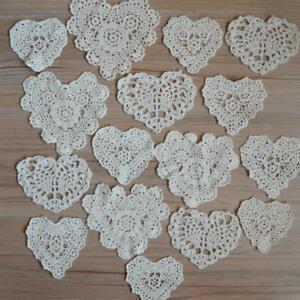 Lot 16 Vintage Hand Crochet Small Ivory Heart Doilies