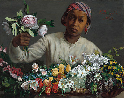 Young Woman with Peonies by Frederic Bazille Black Girl Flower 8x10 Print 2696