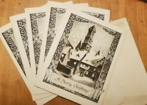Vintage-Silver-Embossed-Christmas-Card-Set-of-5-Town-snow-scene-NOS-1910s