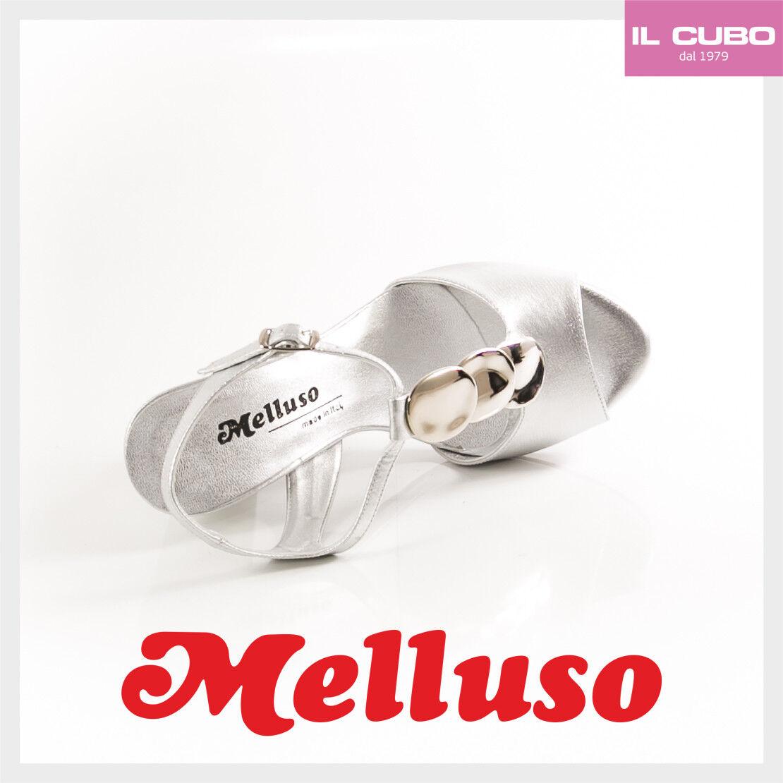 MELLUSO SANDALO Damens SCARPA COLORE ARGENTO SATEN TACCO H 8,5 CM NEW COLLECTION