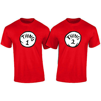 Thing 1 Thing 2 of TWO//Matching Fancy Dress T-Shirts Unisex Gift
