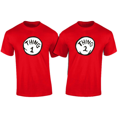 Thing 1 Thing 2 PAIR of TWO Matching Fancy Dress T-Shirts 3-4 to 5XL