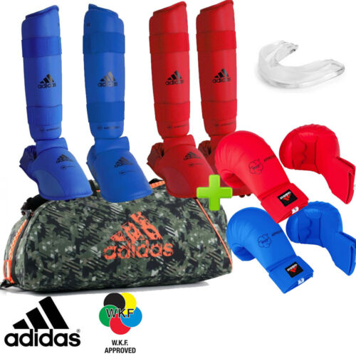 New Full Red /& Blue adidas Karate WKF Competition Sparring Gear Set w// Bag!