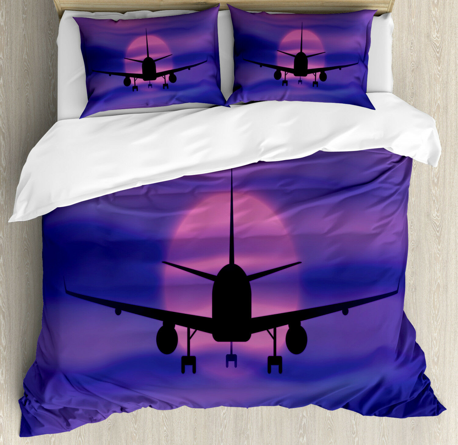 Airplane Duvet Cover Set with Pillow Shams Dreamy Sky Traveling Print