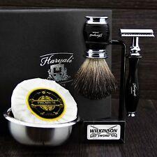 Classic Men's Shaving Set ft DE Safety & Pure Black Badger Brush Gift Kit f/ HIM