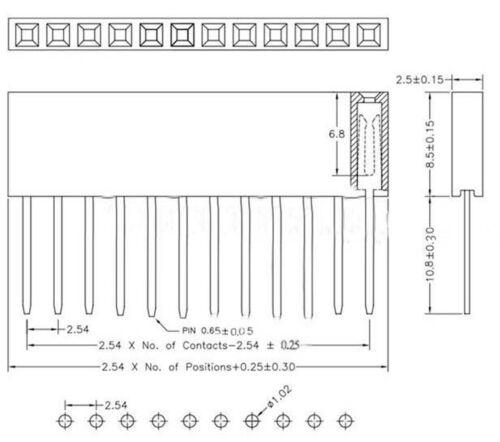 500Pcs 2.54mm Pitch 8 pin encabezado de una sola fila Apilable Escudo hembra para Arduino