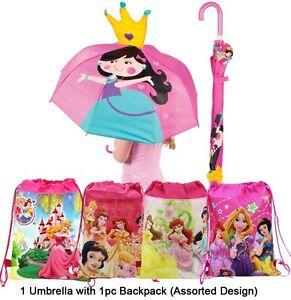 Princess Umbrella and Pink Princess Backpack - 2 pc Gift Set for kids FREE SHIP