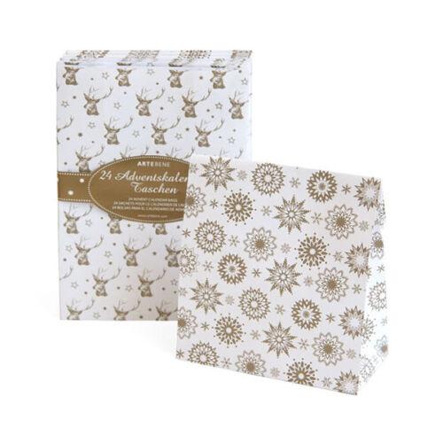 24 Geschenktüten zum Befüllen Schneesterne Hirsche weiß Adventskalender Taschen