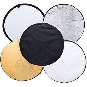 "Light Reflector 24"" 60cm Multi-disc 5 in 1 gold silver white black for Studio"