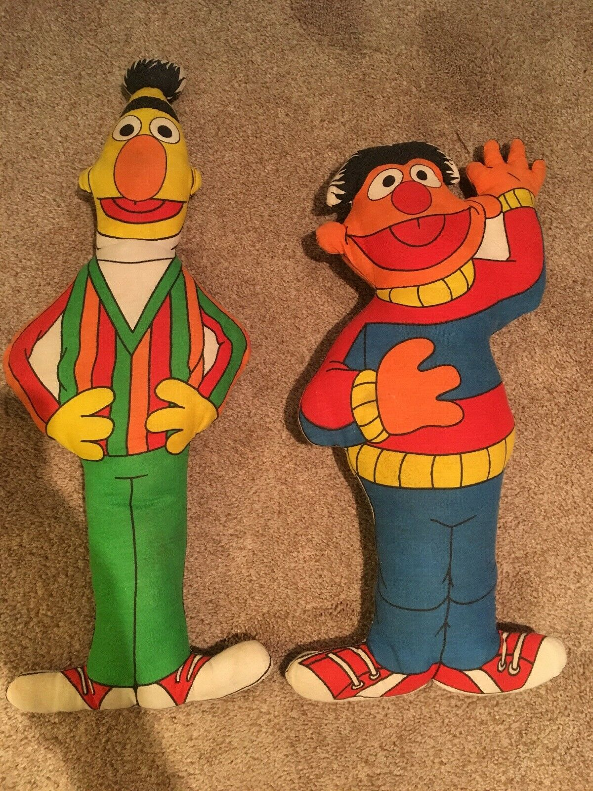 Vintage Bert And Ernie Muppets Inc. Plush Doll Figures 16 And 18 Inches