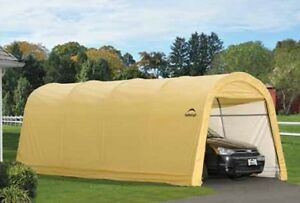 Shelterlogic 10x20 Round Tan Auto Shelter Portable Garage Steel Carport 62684 Ebay