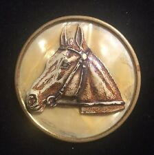 Mop ? Medallion Risen Molded Vintage Horse Head Brooch