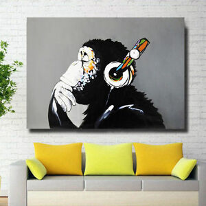 Modern-Abstract-Huge-Wall-Art-Oil-Painting-on-Canvas-No-Stretch-Musical-Monkey