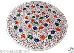 """24""""x24"""" Marble Coffee Center Side Table Top Micro Mosaic Inlaid Decor Arts H1669"""