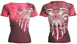 Archaic-AFFLICTION-Womens-T-Shirt-DAVENTRY-Wings-Tattoo-Biker-Sinful-S-XL-40-b