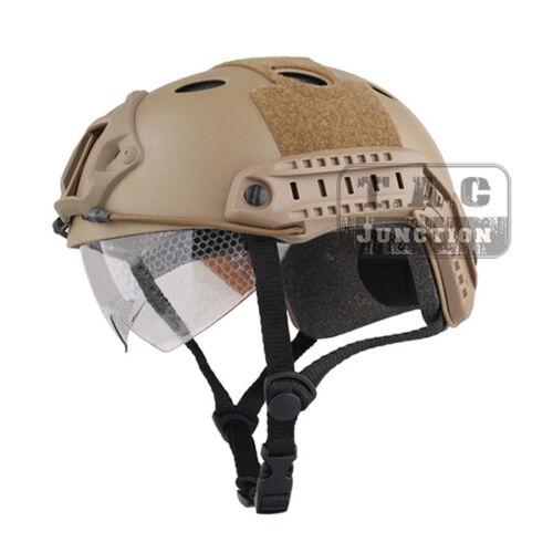NVG Shroud Emerson Fast Helmet PJ Type Bump Jump Helmet w// Flip-down Visor