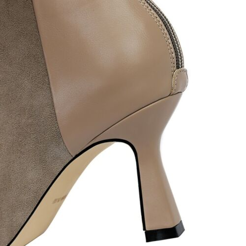 Women Ankle Boots Elegant Pointed Toe Kitten Heels Booties Casual Shoes Back Zip