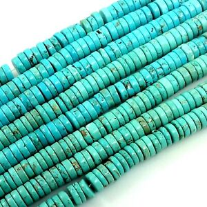 Blue-Howlite-Turquoise-Heishi-Loose-Beads-15-034-4-6-8-10mm-Gemstone-Flat-Rondelle