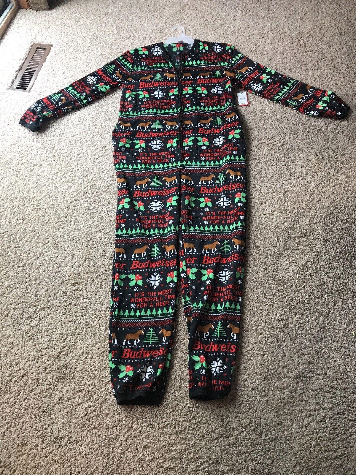 Budweiser Ugly Union Pajama Bodysuit Adult Romper 1 2 Zipper Size Large (42 44)
