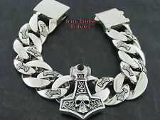 PANZERARMBAND Silberarmband Silber 925 THORS HAMMER Totenkopf 23cm 185gr