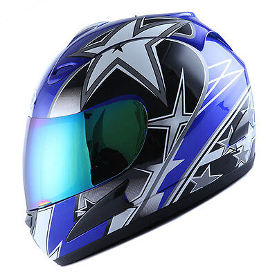 BRAND NEW DOT WOW MOTORCYCLE STREET BIKE FULL FACE HELMET RACING STAR