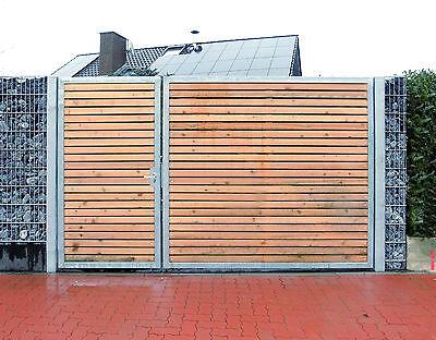 Einfahrtst 450 x 180cm 2-flügelig Asymmetrisch Verzinkt + Holz Tor Gartentor