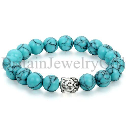 10 mm Artificielle Turquoise Bouddha Tête Handmade Beaded Lucky yoga énergie Bracelet