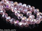 Wholesale 50pcs 10mm Rondelle Faceted Loose Spacer Crystal Glass Beads Pink AB