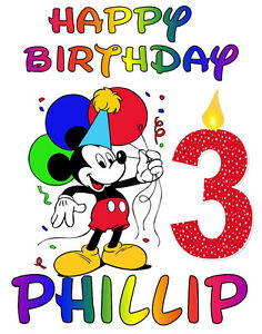 Mickey Mouse Happy Birthday T Shirt Personalized Any Nameage