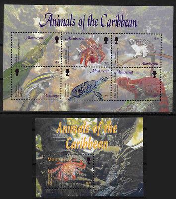 10529 Montserrat 1212-1217 Privatve Ruf Zuerst Block 98 Karibische Tiere ** Kleinbogen
