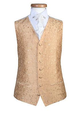 MENS & PAGE BOYS GOLD LEAF SWIRL TUXEDO PARTY WEDDING DRESS CRUISE WAISTCOAT