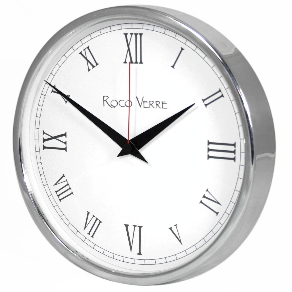 Roco Verre Modern Klassisch Wanduhr Wanduhr Wanduhr 26cm Poliert Gebürstet 5 Ziffernblatt 9636b3