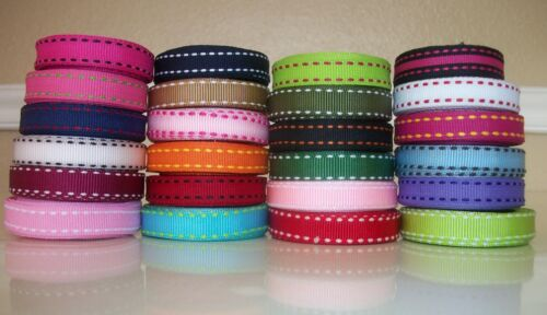 """5 YDS 3//8/"""" STITCHED SADDLE STITCH GROSGRAIN RIBBON 4 HAIRBOW U CHOOSE 26 COLORS"""