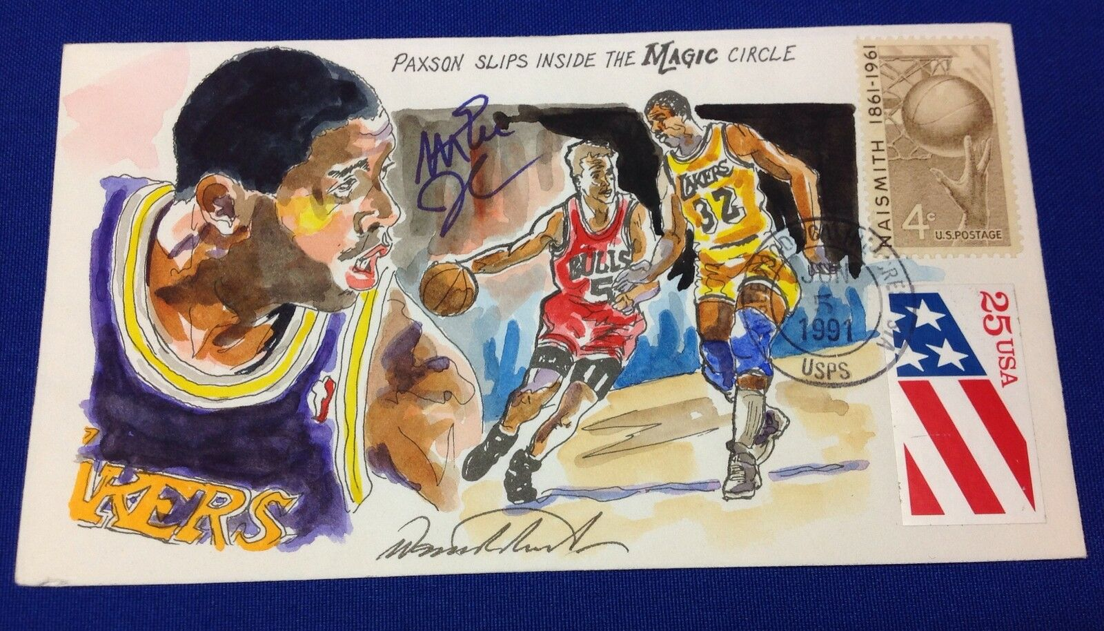 Magic Johnson Signed 1991 Hand Painted Wild Horse Cachet #18 of 125 *Lakers PSA