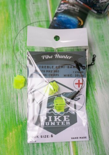 HOOK SIZE 8 SEMI-BARBED 20LB PIKE PIKE TRACE DOUBLE HOOK MADE WITH PIKE PRO