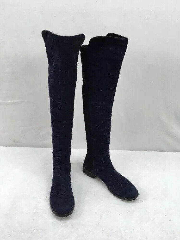 Stuart Weitzman AllGood Knee High Navy bluee Suede Boot Size 6.5M  F2323