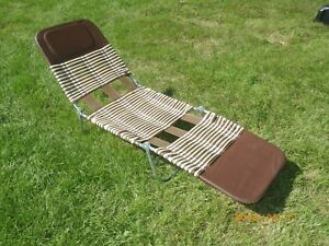 Image Is Loading Vintage Metal Folding Vinyl Chaise Lounge Lawn