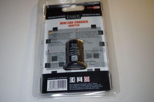 MINI CAR CHARGER ADATTATORE USB//MINI AUTO adattatore di ricarica per Cellulari Cavo USB Eaxus