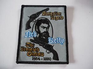 Aussie-BIKER-Quality-Ned-Kelly-Outlaw-Patch-SewIron-Embroidered-Rider-biker