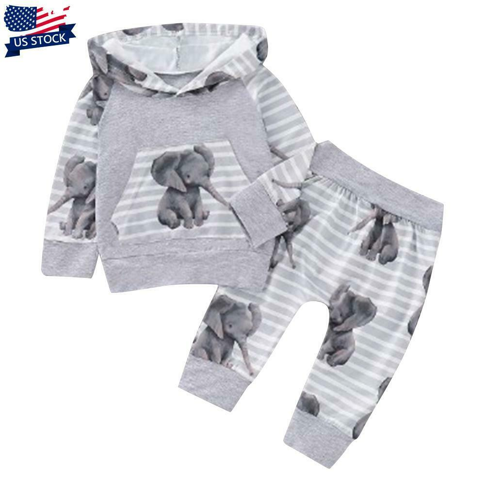 Newborn Baby Boys Girls Tracksuit Elephant Hooded Top Pants Clothes Outfits Set