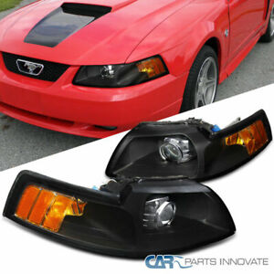 99 04 ford mustang black retrofit style projector headlights head lamps pair ebay details about 99 04 ford mustang black retrofit style projector headlights head lamps pair